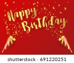 gold happy birthday on red  ... | Shutterstock .eps vector #691220251