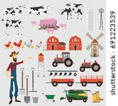 big farm set of elements for... | Shutterstock .eps vector #691223539
