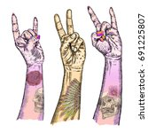 set of rock and roll music hand ... | Shutterstock .eps vector #691225807