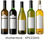 set 5 bottles of wine with... | Shutterstock . vector #69122641