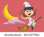 halloween witches fly with... | Shutterstock .eps vector #691227961