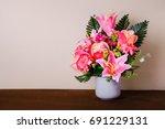 flower vases on table   Shutterstock . vector #691229131