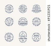 camping logo set line style... | Shutterstock . vector #691231921