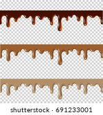 set of melted chocolate peanut... | Shutterstock .eps vector #691233001
