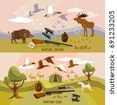 hunting sport  hunting for... | Shutterstock .eps vector #691233205