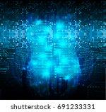 future technology  blue cyber...   Shutterstock .eps vector #691233331