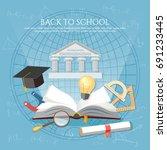 education. open book of... | Shutterstock .eps vector #691233445