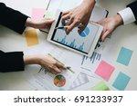 business team hands at working... | Shutterstock . vector #691233937