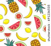 seamless pattern with fruit of... | Shutterstock .eps vector #691236535