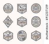 camping logo set line style... | Shutterstock . vector #691237159