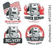 big truck. set of vector logos. | Shutterstock .eps vector #691237261