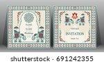 indian wedding invitation card...   Shutterstock .eps vector #691242355