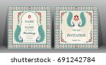 indian wedding invitation card... | Shutterstock .eps vector #691242784