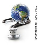 stethoscope with globe on a...   Shutterstock . vector #69124417
