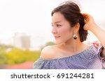 portrait a beautiful woman  an... | Shutterstock . vector #691244281