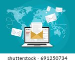 email marketing concept design. ... | Shutterstock .eps vector #691250734