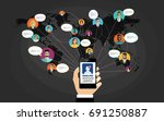 social network  people... | Shutterstock .eps vector #691250887