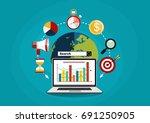 flat illustration web analytics ...   Shutterstock .eps vector #691250905