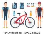 male sportsmen in special... | Shutterstock .eps vector #691255621