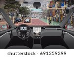 autonomous driverless car with...   Shutterstock . vector #691259299