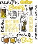 october fest. vector  beer... | Shutterstock .eps vector #691260931