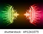 sound waves oscillating dark...   Shutterstock .eps vector #691261075