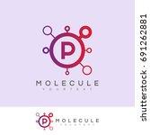 molecule initial letter p logo... | Shutterstock .eps vector #691262881