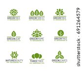 leaves and tree logo set green... | Shutterstock . vector #691264579