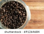 closeup of a coffee beans in... | Shutterstock . vector #691264684