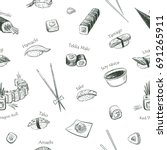 vectors pattern sushi on a... | Shutterstock .eps vector #691265911