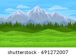 mountain forest meadow landscape | Shutterstock .eps vector #691272007