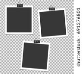 set of photo frame with clip on ... | Shutterstock .eps vector #691276801