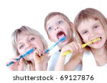 family cleaning  teeth over... | Shutterstock . vector #69127876