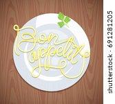 hand lettering noodles bon...   Shutterstock .eps vector #691281205