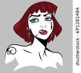 cartoon character  girl  goth   Shutterstock .eps vector #691281484