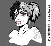 cartoon character  girl  goth | Shutterstock .eps vector #691281811
