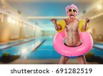 humor. a thin man in a shower... | Shutterstock . vector #691282519