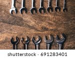 top view of group of wrench... | Shutterstock . vector #691283401