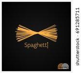 spaghetti pasta logo design... | Shutterstock .eps vector #691285711
