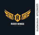 rider wing logo template.... | Shutterstock .eps vector #691286005