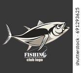 tuna big fishing on white logo... | Shutterstock .eps vector #691293625