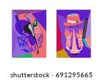 colorful international jazz... | Shutterstock .eps vector #691295665