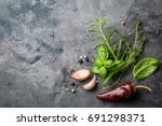 selectionof herbs and spices on ... | Shutterstock . vector #691298371