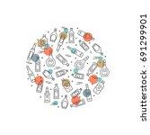 alcoholic circle concept   alco ... | Shutterstock .eps vector #691299901