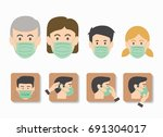 people wearing medical mask... | Shutterstock .eps vector #691304017