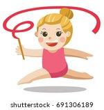 rhythmic gymnastics.... | Shutterstock .eps vector #691306189