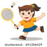 sport player. a cute girl... | Shutterstock .eps vector #691306429
