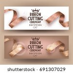ribbon cutting ceremony banners ... | Shutterstock .eps vector #691307029