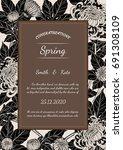 chrysanthemum vector card on... | Shutterstock .eps vector #691308109
