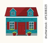house illustration. country...   Shutterstock .eps vector #691308325